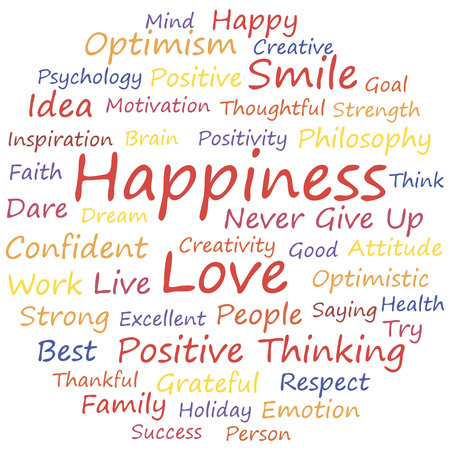 Happiness word cloud concept, a vector illustration. Иллюстрация