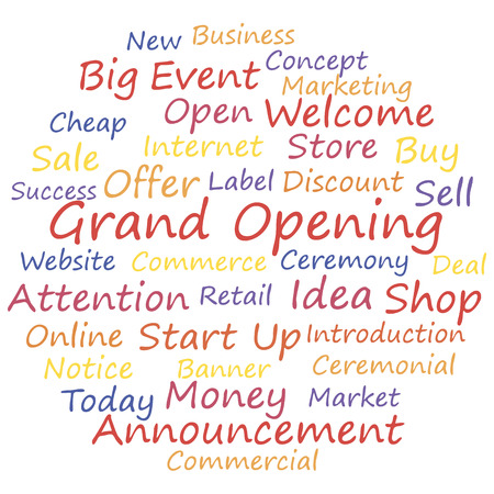 Grand opening word cloud concept, a vector illustration.