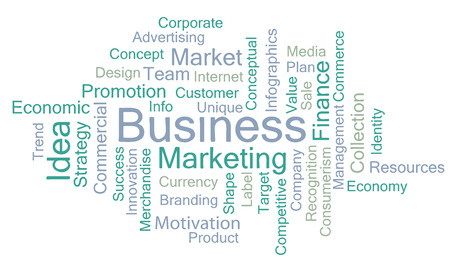 patronize: Business marketing concept words isolate over white, vector.