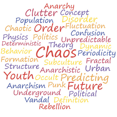 deterministic: Chaos word cloud concept, a vector illustration.
