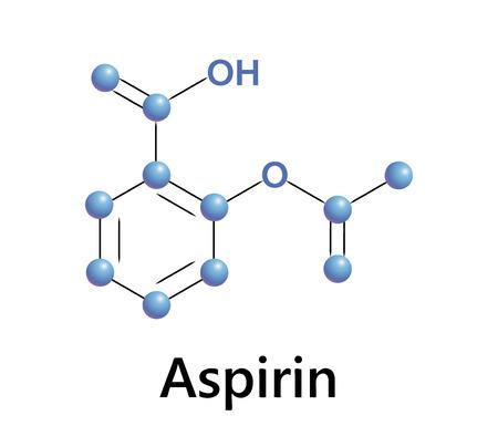 Aspirin chemical formula structure, a medical vector. Иллюстрация