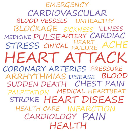 Heart attack word collage concept. Vector illustration. Illustration