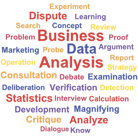 critique: Business Data analysis. Word cloud concept. Vector illustration.