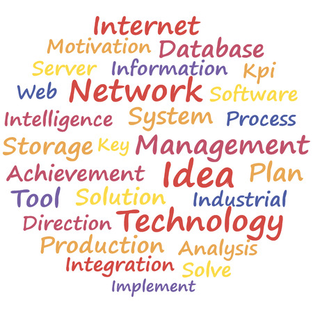 critique: Network system management. Word cloud concept. Vector illustration.