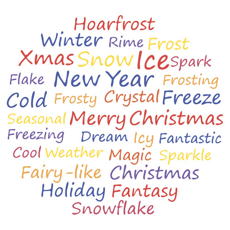 frosted window: Merry xmas. Word cloud concept. Vector illustration.