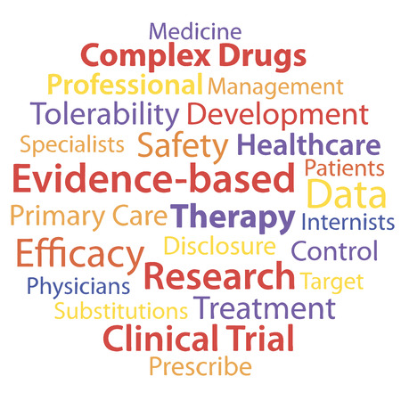 trials: Evidence-based medicine word collage concept. Vector illustration.