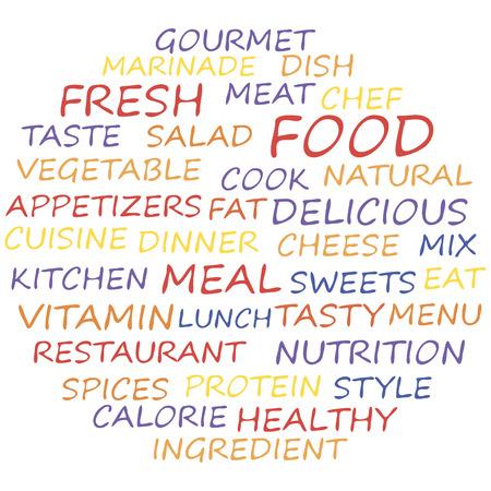 textcloud: Food word cloud, collage concept. Vector illustration. Illustration