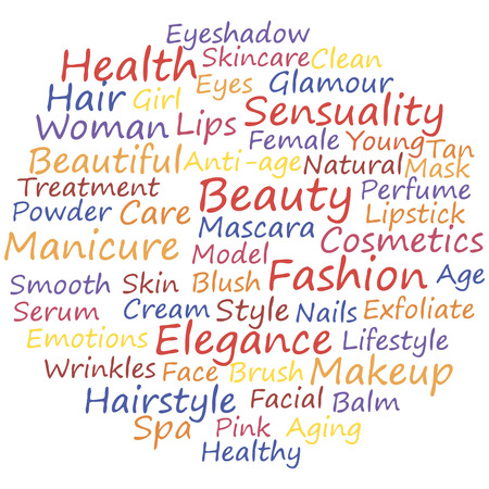 Beauty info-text concept word cloud, vector illustration. Vector