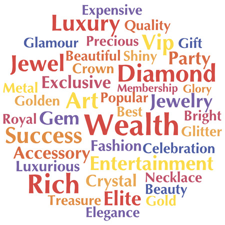 Wealth word cloud, collage concept. Vector illustration.