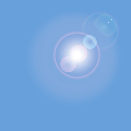 glaring: Blue sky with glaring sun, vector illustration.