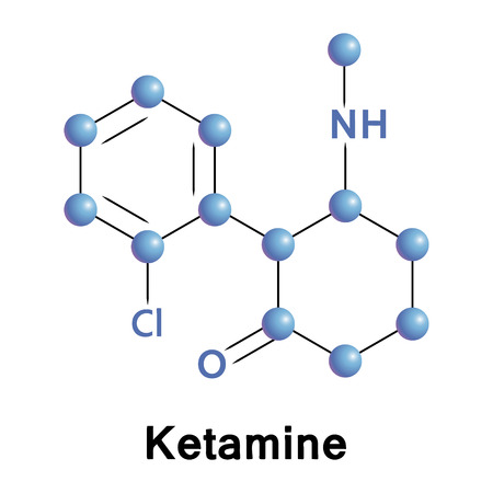 analgesia: Vector illustration, the chemical formula of ketamine Illustration