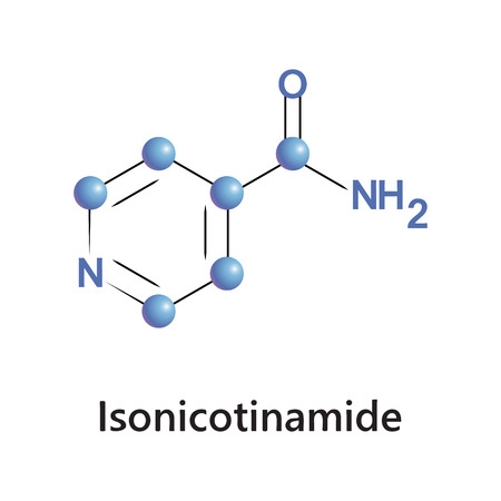 Vector illustration, the chemical formula of isonicotinamide