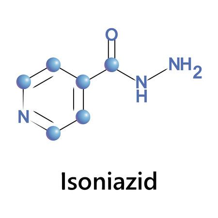 mycobacterium: Vector illustration, the chemical formula of isoniazid
