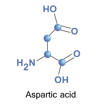 Vector illustration, the chemical formula of aspartic acid Vector