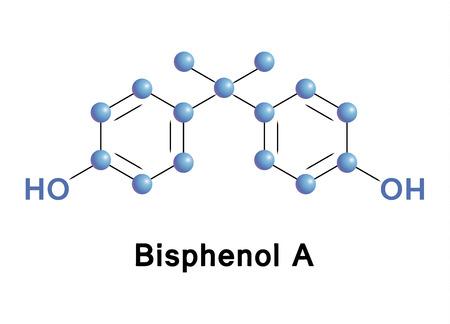 Bisphenol A (BPA) plastic pollutant molecule. Chemical formula vector illustration.