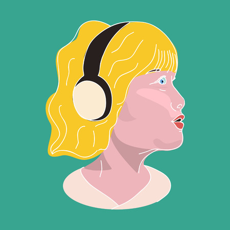 Girl in the headphones, side view, vector flat illustration. Vector