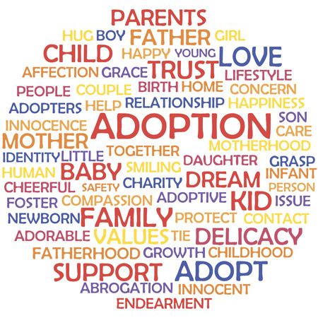 adoptive: Adoption and related words, tag cloud concept.
