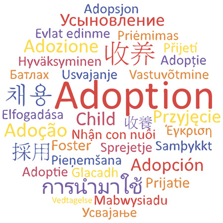 Adoption in different languages, word cloud concept. Vector