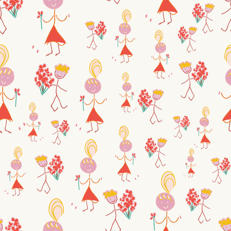 Cute couple with flowers, seamless pattern illustration. Vector
