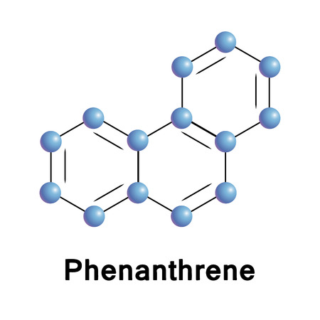 chemical compound: Phenanthrene chemical compound moleccular structure. Vector illustration.