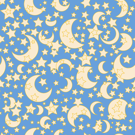 old moon: Moon and stars seamless retro background pattern. Vector illustration. Illustration