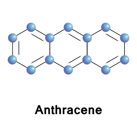 tar: Anthracene chemical compound moleccular structure. Vector illustration.