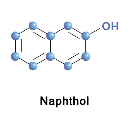 Naphthol chemical compound moleccular structure. Vector illustration. Çizim