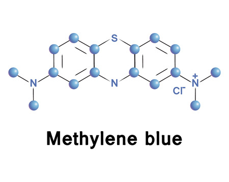 oxidase: Methylene blue chemical compound molecular structure. Vector illustration.