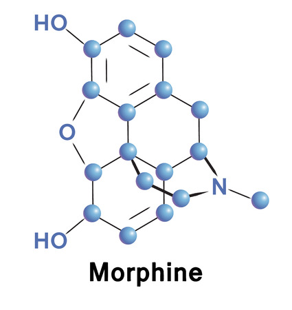morphine: Morphine chemical compound molecular structure. Vector illustration.