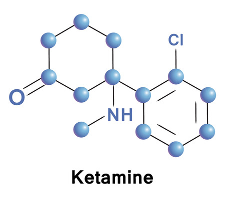 compound: Ketamine chemical compound molecular structure. Vector illustration.