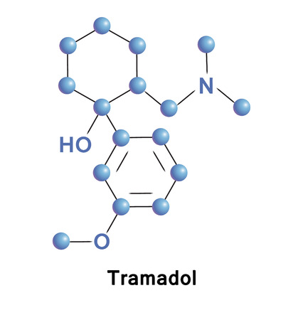 Tramadol opioid drug, chemical compound molecular structure. Vector illustration.