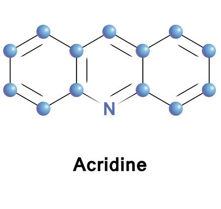 vector  molecular: Acridine chemical compound molecular structure. Vector illustration. Illustration
