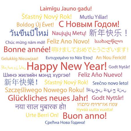 Feliz Año Nuevo en diferentes idiomas Foto de archivo - 30636794