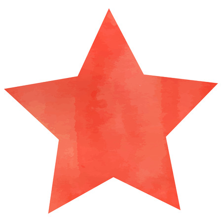 Watercolor red star background design.  Vector