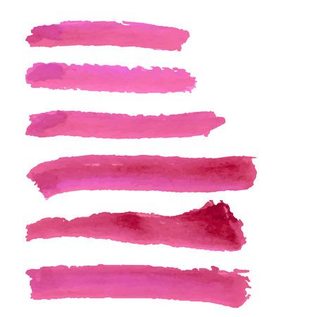 Pink watercolor brush strokes set. Иллюстрация