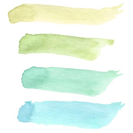Set of colorful watercolour brushes. Vector illustration. Иллюстрация