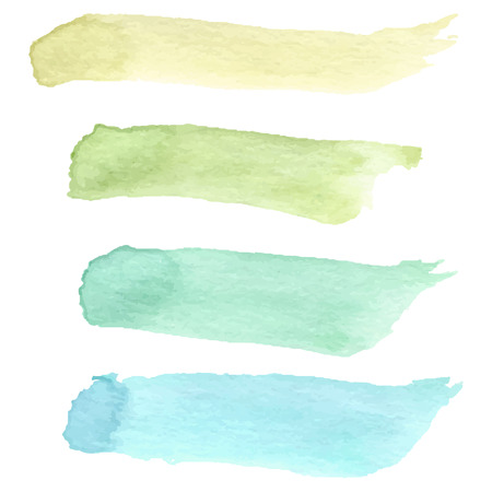 Set of colorful watercolour brushes. Vector illustration. Vector