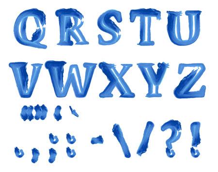 coma: Blue color watercolor alphabet and punctuation symbols. Vector illustration.