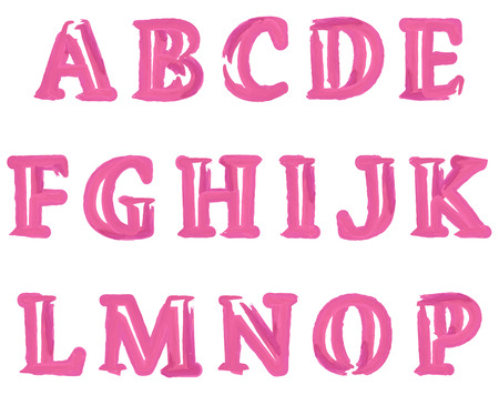 white letters: Pink Watercolour Stroked English Alphabet Letters Set. Vector illustration.