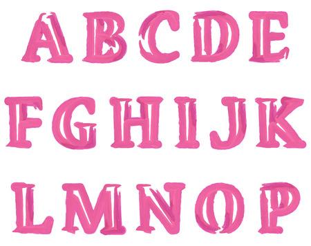 Rosa Acuarela acarició Inglés alfabeto Letras determinadas. Ilustración del vector.
