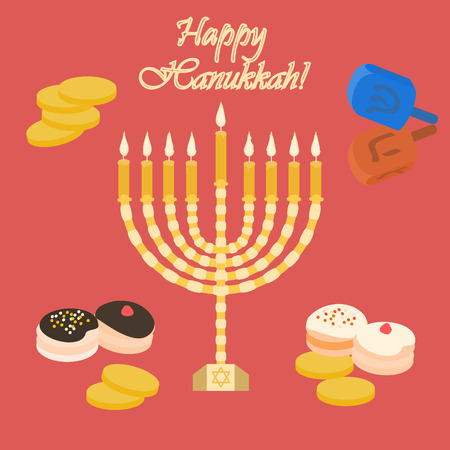 shalom: Red Happy Hanukkah card with a candle Illustration Illustration