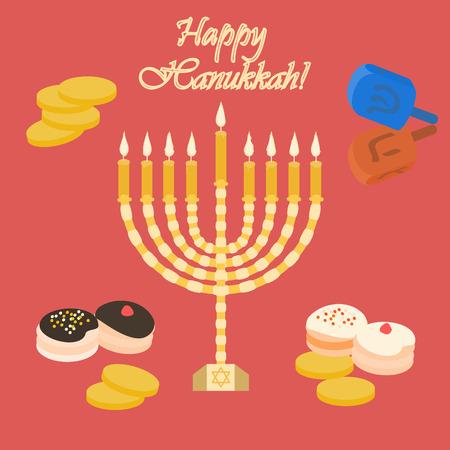 hanukka: Red Happy Hanukkah card with a candle Illustration Illustration