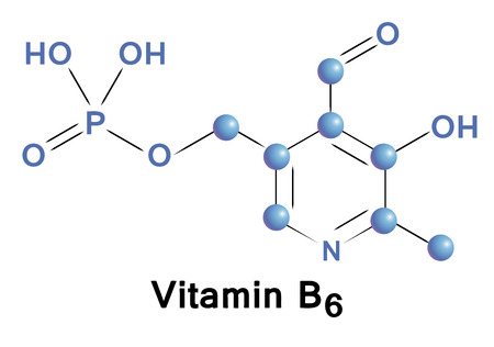 supplementation: Vitamin B6 chemical formula, molecule structure, medical vector illustration.