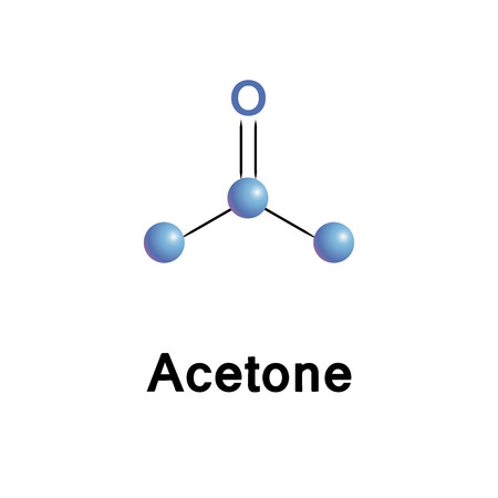 peroxide: Acetone chemical formula, molecule structure, medical vector illustration. Illustration