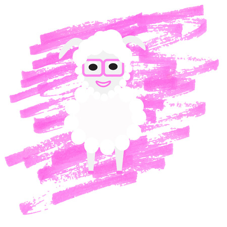 Hipster sheep in pink glasses. Vector illustration. Vector