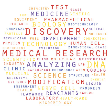 Medical research and discovery concept. Word cloud vector illustration.