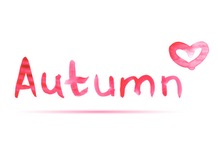 hello heart: Watercolor hand drawning text - autumn with a heart. Vector.