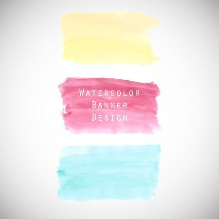 Watercolour colorful banners set for web. Illustration