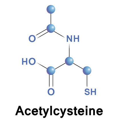 fibrosis: Acetylcysteine chemical formula of mucolytic for cough and cold. Vector.