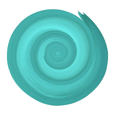 Teal watercolor spiral circular backdrop. Vector illustration.